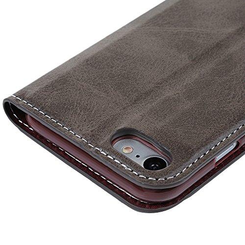 iPhone 7 Hülle Kasos Retro Muster PU Lder Case Tasche Handyhülle Etui Schutzhülle Schale Stand Book Handycase Ledercover mit Design für iPhone 7 (4,7 Zoll) Braun Braun