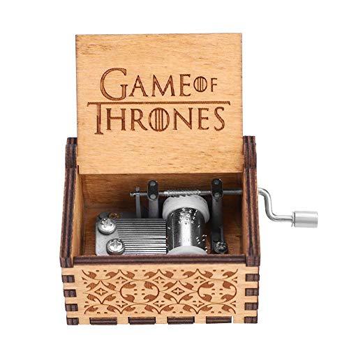 Akozon Caja de Música de Manivela de Madera Regalo de Cumpleaños Mecánico Artesanal Clásico(Game of Thrones)