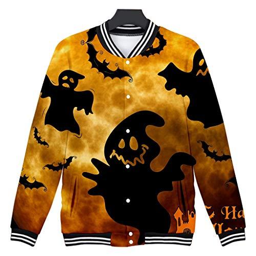 Supertong Damen Cardigan 2019 Neue Halloween Kostüm Grusel Trick Lustige Jacke Mode 3D-Druck Sweatshirt Freizeit Lose Baseball Jacke Halloween Mantel (Lustig Arbeitsplatz Kostüm)