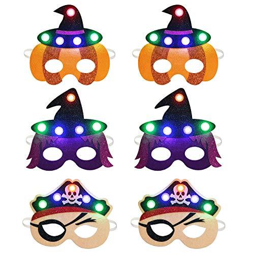 Kids Kostüm Insekten - ZOYLINK Masken Kinder, 6 Stück LED Party Masken Halbmasken mit Elastischen Seil Halloween Piratenmaske Hexenmaske Kinder Ideal für Maskerade oder Karneval Cosplay Kostüm Geburtstag Kid Party