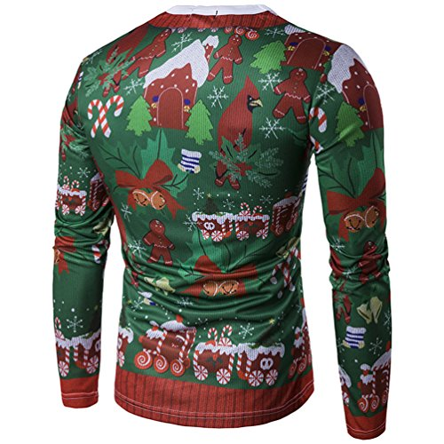 MILEEO Men's Christmas Slim Fit Long-Sleeved Sweatshirts with 3D Colourful Print 13 color 7
