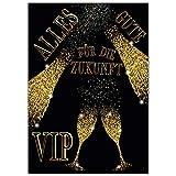A4 XXL Abschiedskarte VIP BUBBLES mit Umschlag - Premium VIP Klappkarte für Kollegen zur Rente Pension Mutterschutz Ruhestand Karte von BREITENWERK