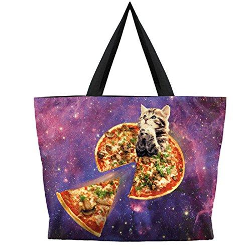 Belsen, Borsa a spalla donna multicolore Devil Taglia unica Pizza cat