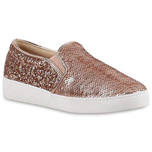 Damen Sneakers Sneaker Low Slip-ons PaillettenSlipper s Fransen Schleifen Nieten Flats Schuhe 136543 Rose Gold Pailletten 40 | Flandell®
