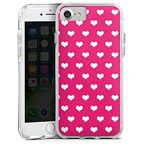 Apple iPhone 6 Bumper Hülle Bumper Case Glitzer Hülle Polka Herz Pink White Bumper Case transparent