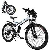 Coorun MTB E-Bike, 26 Zoll E-Faltrad, Faltbares Elektrofahrrad, 36V 8Ah 250Wh mit Große Kapazität Lithium-Akku, 21-Gang Shimano Zahnrad (White)