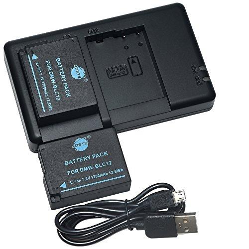 DSTE 2PCS DMW-BLC12(1700mAh/7.4V) Batterie Chargeur Compatible pour Panasonic Lumix DMC-G7,DMC-GH2,DMC-FZ330,DMC-FZ200,DMC-FZ1000,V-LUX4,Leica Q Caméra comme DMW-BLC12E BP-DC12 BP-DC12U Sigma BP-51