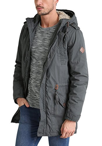 SOLID Clark Teddy Herren Parka lange Winterjacke aus 100% Baumwolle mit Kapuze und Kunstfellkragen, Größe:M, Farbe:Dark Grey (2890) - 4