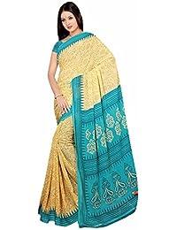 Bollywood Sari Kleid Chiffon Gold Grün Fo444