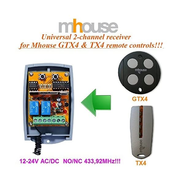2-canales-Mhouse-GTX4-TX4-receptor-12-24V-ACDC-NONC-43392Mhz-rolling-code