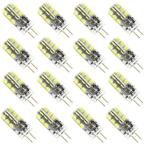 16er 3W G4 LED Lampe AC DC 12V Stiftsockel Mini Leuchte Nicht Dimmbar 250 Lumen Ersetzt 20W Halogenlampe Kaltweiß 6000K 360º Abstrahlwinkel Ø12 x 37mm