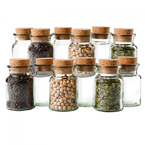 Mambocat 12er Set Gewürzgläser | Füllmenge 150 ml | wiederverwendbare Glasdose + Korkverschluss | hochwertiges rundes Glas | Aufbewahrung von Tee Kräutern Gewürzen (12 Glas-topf Mit Deckel)