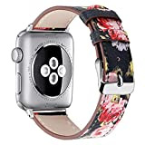 Correa de hebilla de cola redonda Para Apple Watch Series 1/2/3/4 38 / 40mm 42/44mm Deluxe Leather Denim Bracelet Watch Strap Mymyguoe