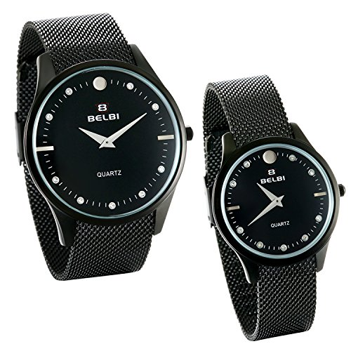 JewelryWe 2pcs Partner-Armbanduhr Paar Uhren Analog Quarz 30M Wasserdichte schwarz Armbanduhr mit Edelstahl Milanese Mesh Armband, Herren Damen