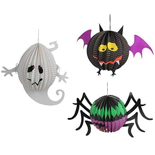 Halloween Laterne LED Kürbis Spinne Fledermaus Skeleton Licht Halloween Indoor Outdoor Urlaub Party Decor Papier Laterne 3 STÜCKE