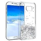 Galaxy S7 Hülle Glitzer,KOUYI Luxus Fließen Flüssig Glitzer Mode 3D Dynamisch Clear Transparent Silikon Weich Flexible TPU Schutzülle Schale Etui Tasche Cover Beschützer für Samsung Galaxy S7 (Silber)