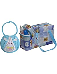 Annapurna Sales Baby Diaper Bag With Bottle Warmers Or Nappy Changing Bag With 2 Bottle Warmers - Blue ( Unisex )