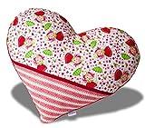 moritzkid Herzkissen mit Erdbeermuster; Kissen in Herzform, Kuschelkissen