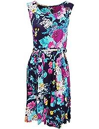 Universal Textiles Womens/Ladies Sleeveless Flower Garden Print Summer Dress With Round Neck Line