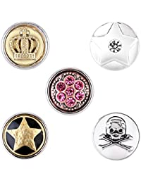 Morella señorías small Click-Button Set 5 pcs botones 12 mm Diámetro Estrella Calavera y corona