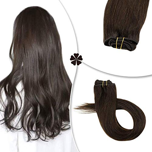 Hetto 18 Zoll Remy Echthaar Clip in Extensions #2 Darkest Brown 4Pieces 60Gram Clip on Hair Extensions for Woman