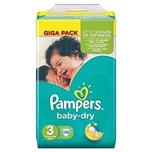 pampers baby dry taille 3 midi 4 6kg giga pack de 136. Black Bedroom Furniture Sets. Home Design Ideas