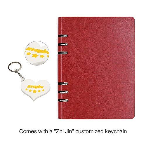 Zhi Jin, quaderno ad anelli A6 ricaricabile, con copertina rigida in pelle, accessorio classico, utilizzabile come diario o agenda di lavoro Red