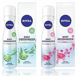 Nivea Body Deodorizer Fresh Citrus & Fresh Rose Care Gas Free Spray for Women, 120ml, pack of 2