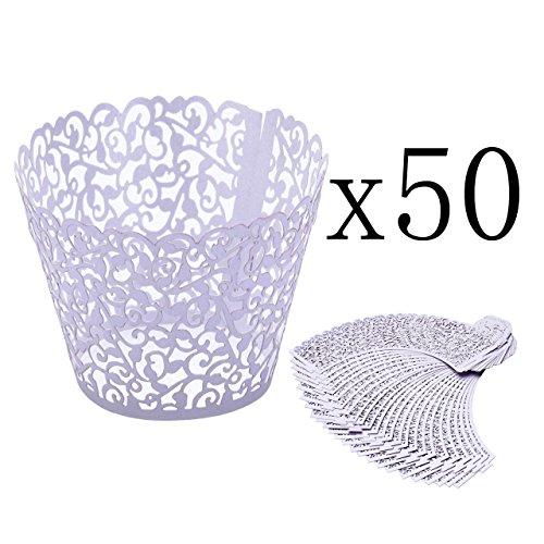 ke Wrappers Hohl Cupcakeförmchen Kuchen Pappbecher Verpackungen Kuchenverpackung für Hochzeit Geburtstag feiern Baby Dusche Dekoration (Lila) ()