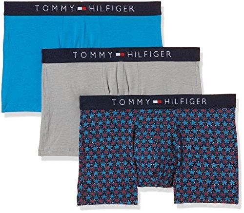 Tommy Hilfiger Herren Boxershorts Icon Trunk 3 Pack Stars 3er, Mehrfarbig (Alloy Samba-PT/Brilliant Blue 918), Small
