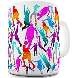 Taza de cerámica Twisted Envy con diseño de jugadores de baloncesto, ideal para regalo