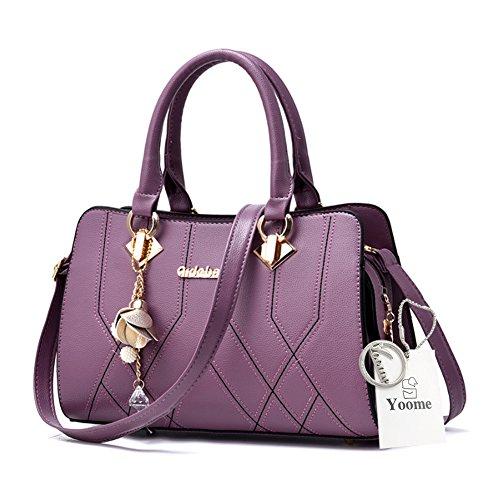 Yoome Medium Crossbody Handtaschen für Frauen Hardware Anhänger Top Handle Handtaschen Elegant Taschen - D.Pink Lila