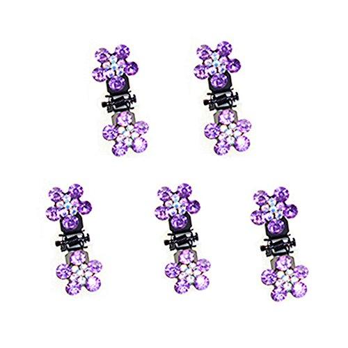 Belle bijoux filles fleurs clips cheveux, Mini 5 Count, Violet