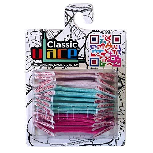 U-LACE - CLASSIC Lacets élastiques multicolores de 7 à 77 ans Adultes Enfants (PASTEL CLASSIC)