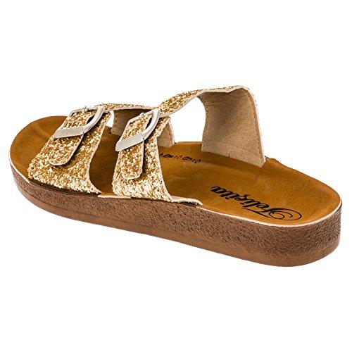 Ciabattine Sandali O Ciabattine In Feltro Comode E Alla Moda Con Glitter In Molti Colori Oro M295go