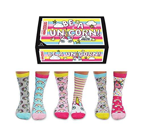De La Marca United Oddsocks- Caja De Regalo 6 x Calcetines De Unicornio Desparejados Para Mujer EU 37-42 - Be A Unicorn