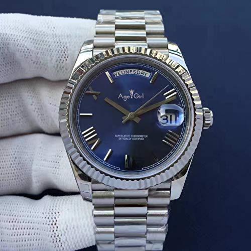 PLKNVT Luxusmarke New Men Daydate Gold Silber Schwarz Grün Uhr Automatik Mechanik Edelstahl Saphir Day-Date Uhren 41MmSilber Blau