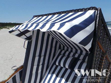 Strandkorb XXL – Luxusstrandkorb – aus Holz und Polyrattan (Blau) - 2