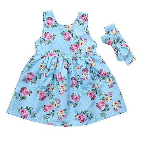 kleidung Set, Spielanzug Kleid + Stirnband, Mädchenkleider, Mode Freizeit Girl Princess Kleider Ärmellos Print Partei-Kleid Nachtkleid Jumpsuits für 0-4 Jahre alt (18M, Himmelblau) (Princess 1. Geburtstag)