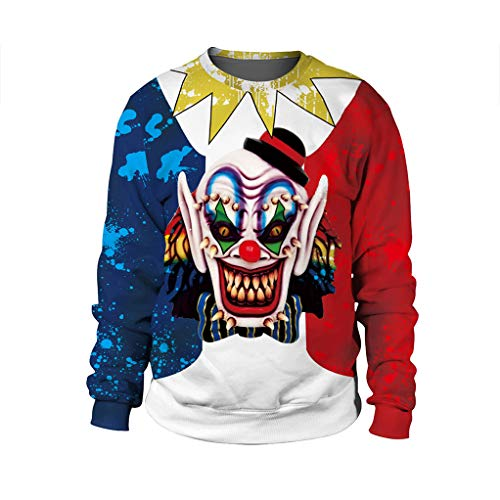 CHUN BO Damen Herren Sweatshirts Halloween 3D Print Langarm Rundhals Pullover Leichte Pullover Tops Lustiges Halloween Kostüm Sweatshirt,5,S