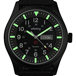 INFANTRY® Mens Analogue Quartz Wrist Watch Date Day Lume Sport Black Nylon Strap