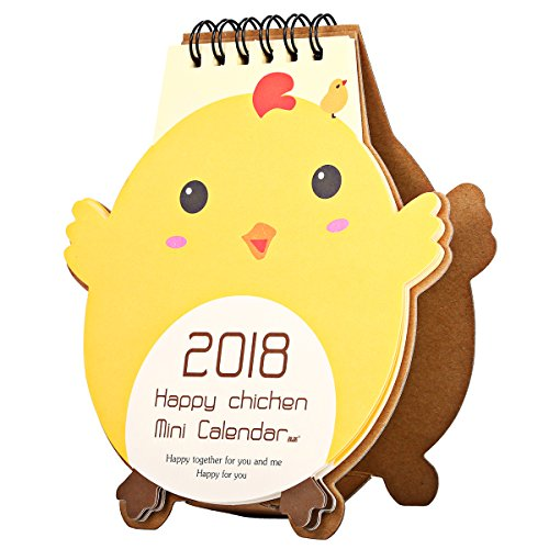 KING DO WAY 2018 Mini Karikatur Kalender Tischkalender Cartoon-Stil Küken