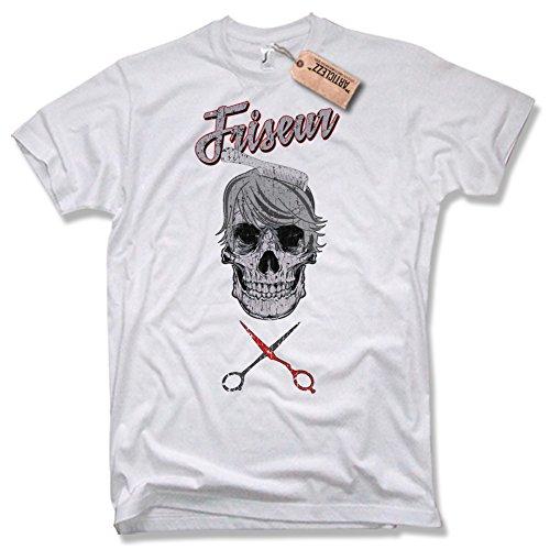 FRISEUR SKULL T-Shirt, verschiedene Farben, Gr. S - XXL weiß / white