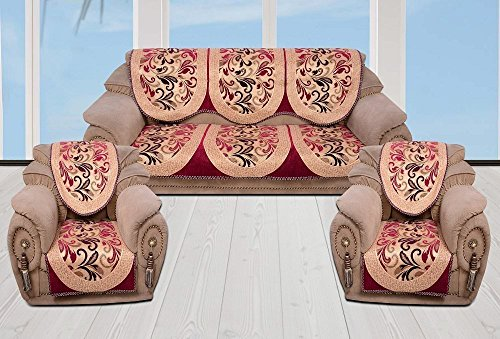 INDIA ONLINE Sofa Cover Heavy Cotton Cloth 5 Seater Set -6 Pieces- Pink & Black (Flower Design)