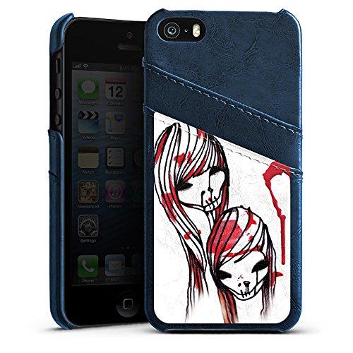 Apple iPhone 5 Housse Étui Silicone Coque Protection DeadHoxtonGirls Gloria saignant Étui en cuir bleu marine