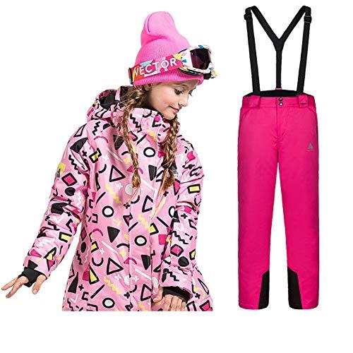 Lserver bambini inverno caldo cappuccio snowsuit bambino infante antivento e impermeabile & snowproof giacca da sci + pantaloni 2 pz impostare