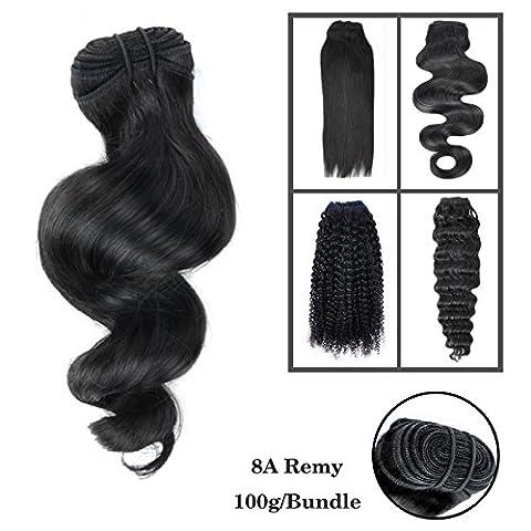 8-30 Pouces 1 Bundle 3 Bundles promotion 8A 100% Bresilien Cheveux humains Vierges Cheveux Humains Weave 100g Extensions capillaires/ Noir naturelle Loose Wave 25cm(10