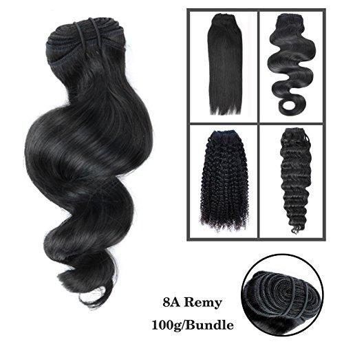 20cm-76cm 8A 100g 1 Stück (Rabatt auf 3) 100% Echthaar Tressen zum einnähen Schwarz Brazilian REMY VIRGIN Haarverlängerungen Hair Weave Haartressen Locken Loose Wave 50cm(20