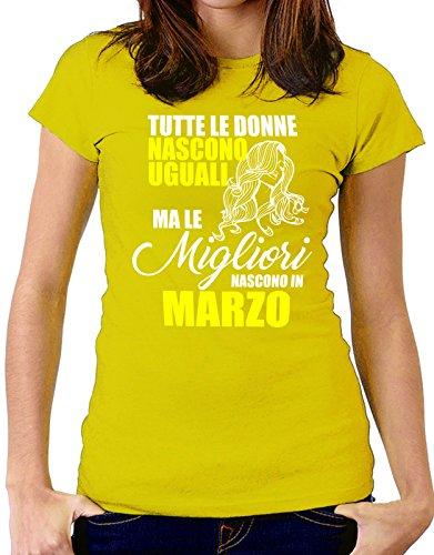 Tshirt Tshirt Tshirt birthday - MARZO - tutte le donne nascono uguali - ma le migliori nascono a Marzo - Tutte le taglie by tshirteria Giallo