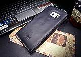 Akira Handmade Original Premium Echtleder Flip Case für Samsung Galaxy S6 Edge SM-G925 schwarz